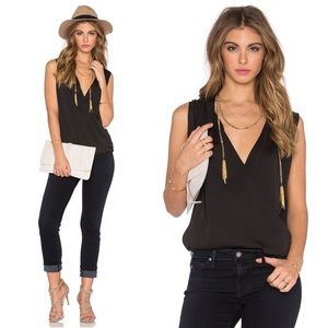 L'Academie Wrap Blouse Black Small New REVOLVE NWT